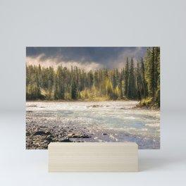Morning fog at Athabasca river, Canada Mini Art Print
