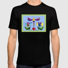 Dragonfly Love Black MEDIUM Mens Fitted Tee