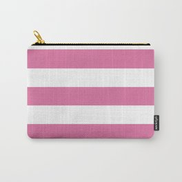 Chinese pink -  solid color - white stripes pattern Carry-All Pouch