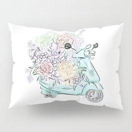flowers and scooter. Flowers art Flower Art Print. Pillow Sham