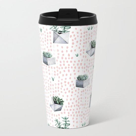 Potted Succulents Pink Polka Dots Metal Travel Mug