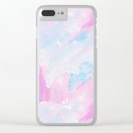 Modern pastel pink teal hand painted watercolor pattern Clear iPhone Case