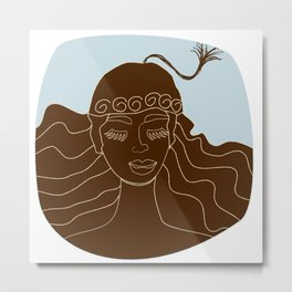 Magical Winter lineart - chocolate and blue Metal Print