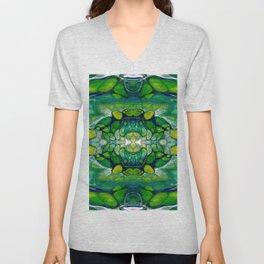 Bright Green Abstract Design Art Unisex V-Neck