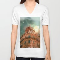 france V-neck T-shirts featuring Montpellier  - France by Victoria Herrera