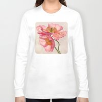 jazzberry Long Sleeve T-shirts featuring Like Light through Silk - peach / pink translucent poppy floral by micklyn