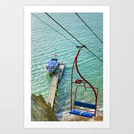 Chairlift to Alum Bay Art Print