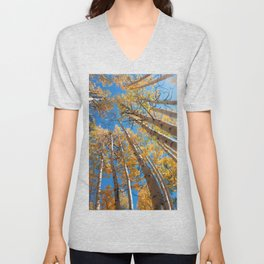 Aspen Trees Against The Sky In Crested Butte, Colorado for #Society6 Unisex V-Neck