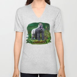 Silverback Gorilla Guardian of the Rainforest Unisex V-Neck