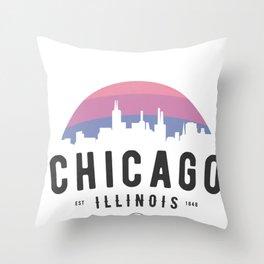 Chicago Illinois Skyline Classic Retro Vintage Throwback Throw Pillow