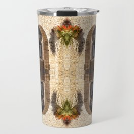 Surreal kaleidoscope pattern of old stoned covered market in France Travel Mug