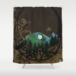 Racoon Spirit in Soft Brown,Emerald Greens and Blues Shower Curtain