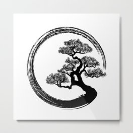 Enso Zen Circle and Bonsai Tree Metal Print