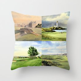 Famous Golf Courses Of Scotland - St Andrews Turnberry Carnoustie Royal Troon Throw Pillow