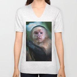 Capuchin Daydream - Cahuita Costa Rica Wildlife Unisex V-Neck