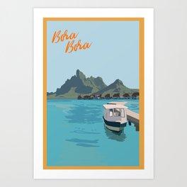 Bora Bora Tahiti Boat and island with bungalows in background Art Print