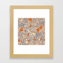 orange and blue pattern Framed Art Print