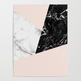 Black white marble blush pink color block Poster