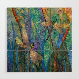 Colorful Dragonflies Wood Wall Art