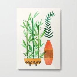 Bamboo + Fern / Botanical Illustration Metal Print