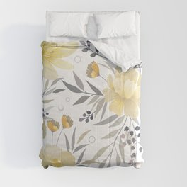 Modern, Floral Prints, Yellow, Gray and White Comforters