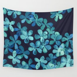 Hand Painted Floral Pattern in Teal & Navy Blue Wall Tapestry