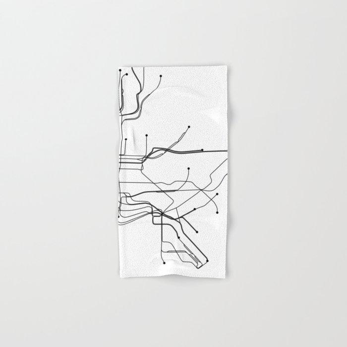 New York City Subway Map Black And White.New York City White Subway Map Hand Bath Towel By Multiplicity