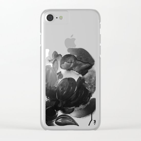 Purple Poppies in the Nighttime Dark As Rain Clear iPhone Case