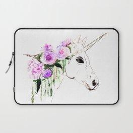 Unicorn with purple flowers Laptop Sleeve