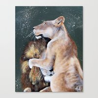 cuddle Canvas Prints featuring CUDDLE. by AnnMarie Dione