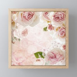 Vintage Flower Pink English Roses Collage Framed Mini Art Print