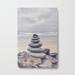 Stone Tower At A Wild Portuguese Beach Metal Print