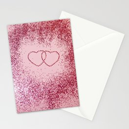 In Love Sparkling Glitter Hearts #2 #red #decor #art #society6 Stationery Cards