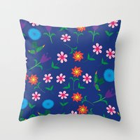 floral pattern Throw Pillows featuring Floral pattern  by luizavictoryaPatterns