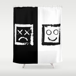 Happiness versus depression. #print Shower Curtain