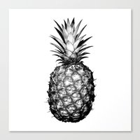 pinapple Canvas Prints featuring Black & White Pineapple by CumulusFactory