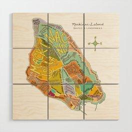 Mackinac Island Illustrated Map Wood Wall Art