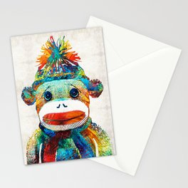 Sock Monkey Art - Your New Best Friend - By Sharon Cummings Stationery Cards