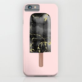 Black Marble with Gold Popsicle iPhone Case