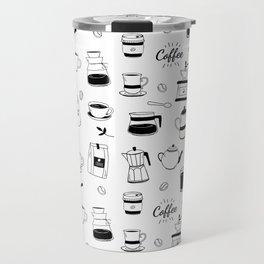 Hand Drawn Black Coffee and Cafe Pattern Travel Mug