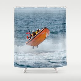 Lifeboat jump Shower Curtain