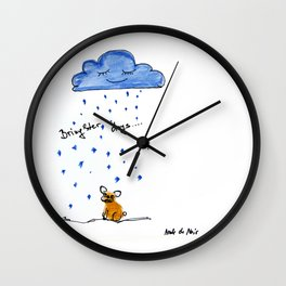 """""""Brighter days"""", dedicated to Borja my french bulldog, art by BoubouleArt Wall Clock"""