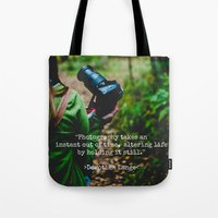 photographer Tote Bags featuring Photographer by Jo Bekah Photography