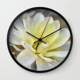 White Magnolia Wall Clock