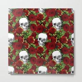 Vintage Skulls and Roses Metal Print