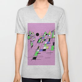 Bad perspective - Abstract, vector, geometric, 3D style artwork Unisex V-Neck
