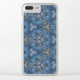 swirl blue pattern Clear iPhone Case