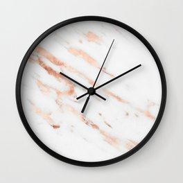Rose Quartz Foil on Real White Marble Wall Clock