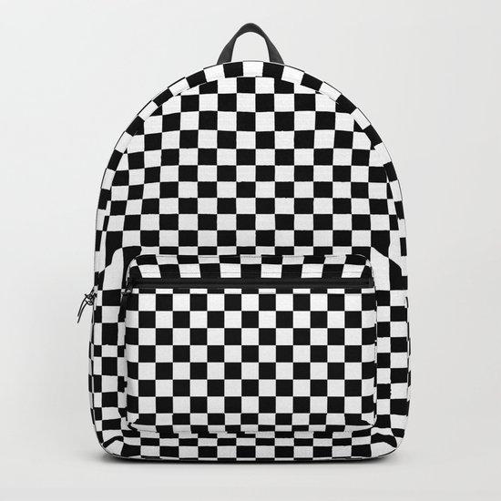 Black White Checks Backpack