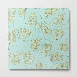 Gold Squid (Mint) Metal Print